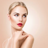 Beautiful woman portrait. Beauty Spa woman with perfect fresh skin royalty free stock image