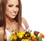 Woman portrait  with bouquet Stock Photos