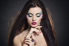 Beautiful woman portrait with bright colourful makeup Royalty Free Stock Photography