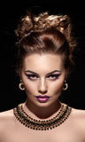 Beautiful woman portrait with bright fashion make up Royalty Free Stock Image