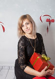 Beautiful woman portrait, Christmas themed Royalty Free Stock Photography