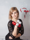 Beautiful woman portrait, Christmas themed Royalty Free Stock Photo
