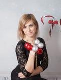 Beautiful woman portrait, Christmas themed Royalty Free Stock Photo