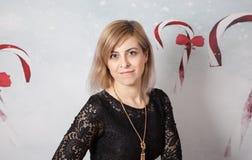 Beautiful woman portrait, Christmas themed Royalty Free Stock Photos