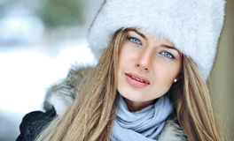 Beautiful woman portrait close up - outdoors Royalty Free Stock Image