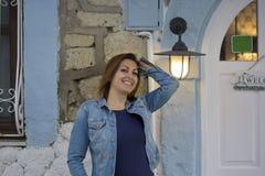 Beautiful Woman Portrait in Cunda Island,Turkey Stock Images