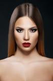 Beautiful woman portrait on dark background stock photo
