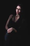 Beautiful woman portrait on dark background Royalty Free Stock Photo