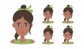 Beautiful woman portrait with different facial expressions royalty free illustration