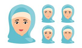 Beautiful woman portrait with different facial expressions vector illustration