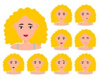 Young girl smiling, surprised, happy, smiling, idea, kind, angry, greeting emotion face vector character. Blond stock illustration