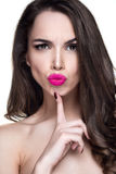 Beautiful woman portrait with emotion on face. And pink lipstick Royalty Free Stock Photos