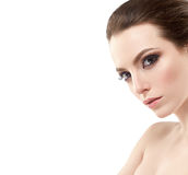 Beautiful woman portrait face studio isolated on white Stock Photography