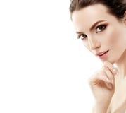 Beautiful woman portrait face studio isolated on white Stock Photos