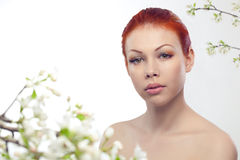 Beautiful woman portrait with flowers Royalty Free Stock Photography