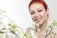Beautiful woman portrait with flowers Royalty Free Stock Photos
