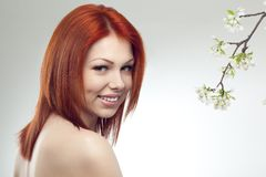 Beautiful woman portrait with flowers Stock Image