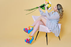 Beautiful woman portrait with flowers bouquet Royalty Free Stock Images