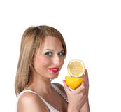 A beautiful woman portrait with fresh lemon. Stock Image