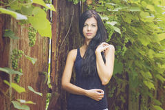 Beautiful woman portrait in garden Stock Images