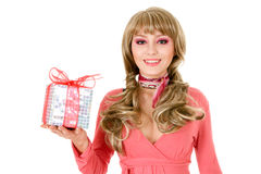 Beautiful woman portrait with gift Royalty Free Stock Images