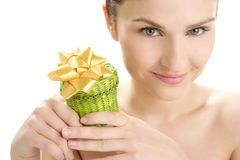 Beautiful woman portrait with a gift Royalty Free Stock Photo