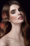 Beautiful woman portrait. Hairdo hollywood waves. Looking direct. Ly. Sexual lips.Studio shot. Beautiful neck Royalty Free Stock Images