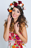Beautiful woman portrait in handmade flower crown Royalty Free Stock Photo