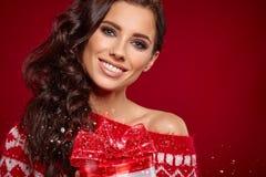 Beautiful woman portrait hold gift Royalty Free Stock Photo