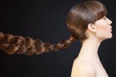 Beautiful Woman Portrait. Long Brown braid. Beautiful Woman with Long Brown braid Royalty Free Stock Photos