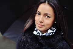 Beautiful woman portrait with long brown hair and clean skin Stock Photography