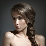 Beautiful Woman Portrait. Long Brown Hair Royalty Free Stock Image