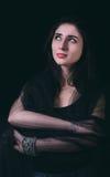 Beautiful woman portrait in low key Stock Photo