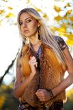 Beautiful woman portrait in natural autumn Royalty Free Stock Image