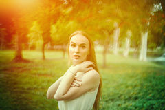 Beautiful Woman Portrait in nature Stock Photography