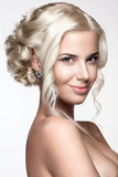 Beautiful woman portrait. With nice make up and blond hairs Royalty Free Stock Photos