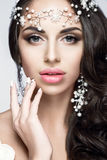 Beautiful woman portrait with nice makeup and white jewelry. Bride Royalty Free Stock Photography