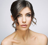Beautiful woman portrait . Nude shoulders. Female model studio posing Royalty Free Stock Images