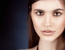 Beautiful woman portrait perfect make up on dark background Royalty Free Stock Photography