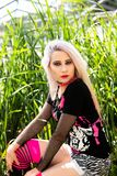 Beautiful woman portrait with punk make up and outfit Royalty Free Stock Photo