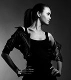 Beautiful woman portrait in rock style Stock Photo