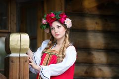 Russian woman in national costume stock photo