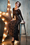 Beautiful Woman Portrait. Girl. Beauty model in black lace dress. Stock Images