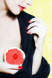 Beautiful Woman Portrait Showing grapefruit breast Royalty Free Stock Photo