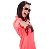 Beautiful woman portrait showing thumbs up Royalty Free Stock Photos