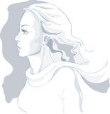 Beautiful woman portrait, sketch, profile, vector Royalty Free Stock Photos