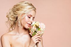 Free Beautiful Woman Portrait Smelling Peony Flower Bouquet, Happy Dreaming Girl And Flowers Stock Image - 175689661