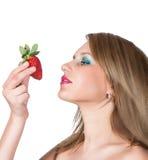 Beautiful woman portrait with strawberry Stock Image