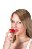 Beautiful woman portrait with strawberry Royalty Free Stock Image