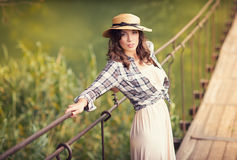 Beautiful woman portrait in trendy hat Stock Photography
